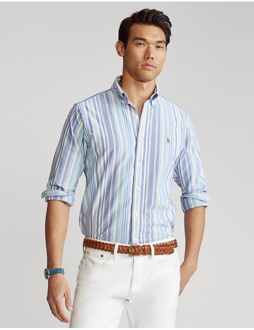 Custom fit hemd blauw gestreept