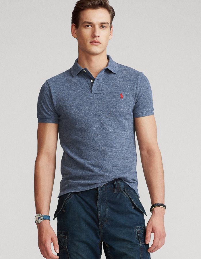 Slim Fit Mesh Polo jeansblauw