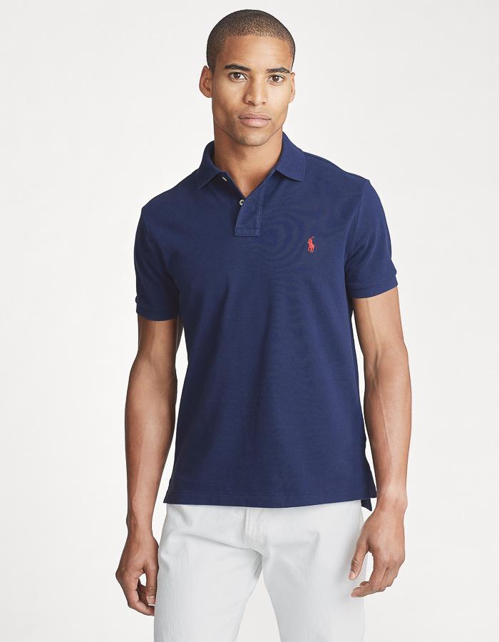 Custom Slim Fit Mesh Polo Donkerblauw