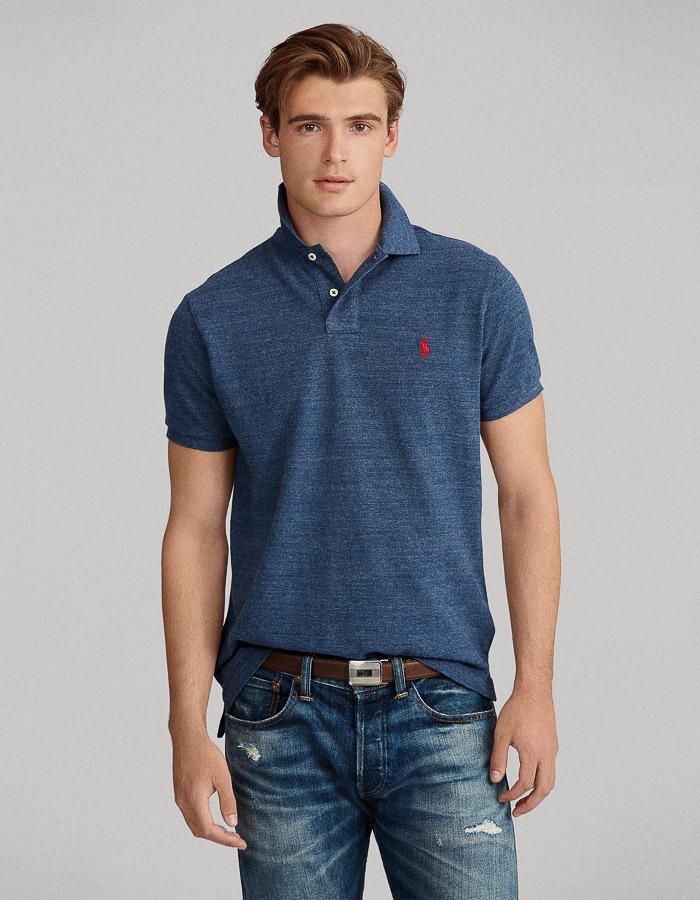Custom Slim Fit Mesh Polo Jeansblauw