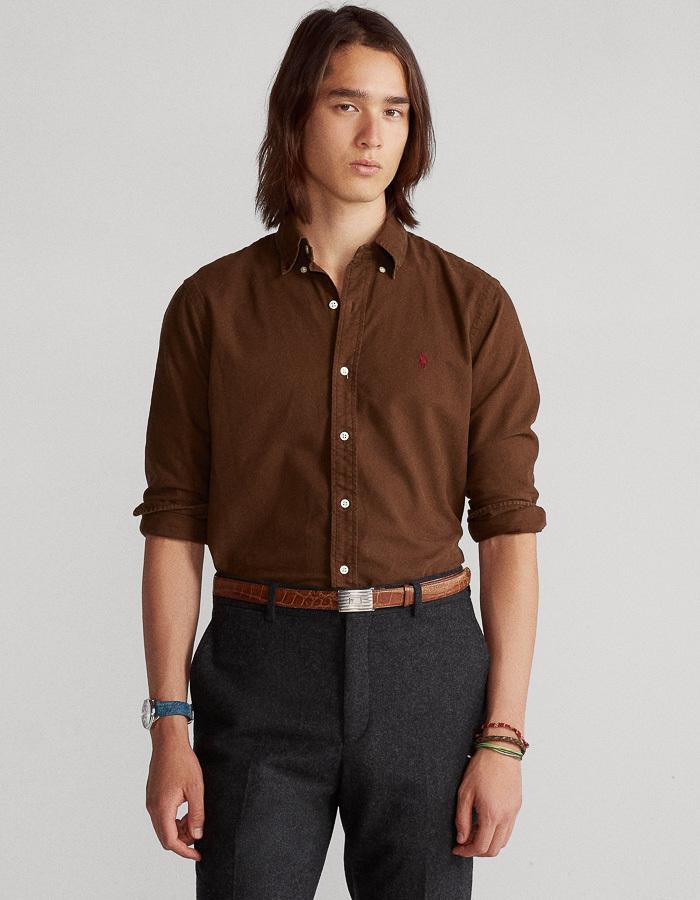 Ralph Lauren slim fit hemd bruin