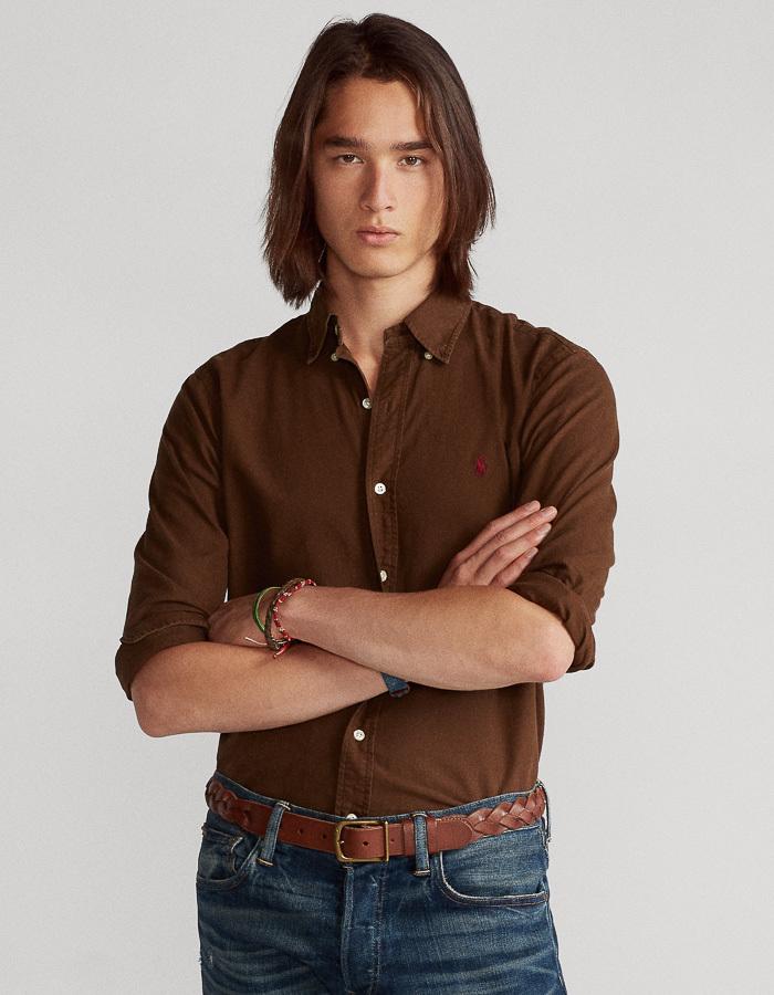 Ralph Lauren custom fit hemd bruin