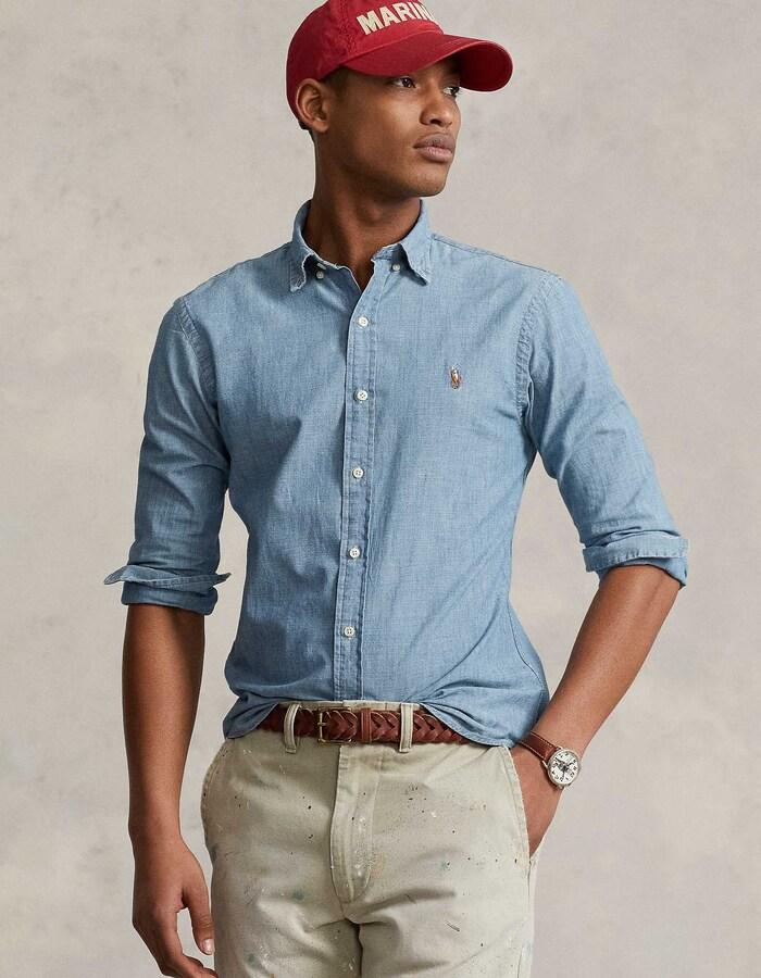Slim Fit Denim Hemd Blauw