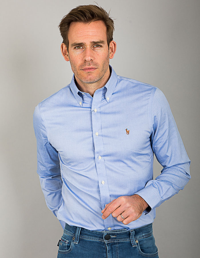 Ralph Lauren slim fit hemd blauw