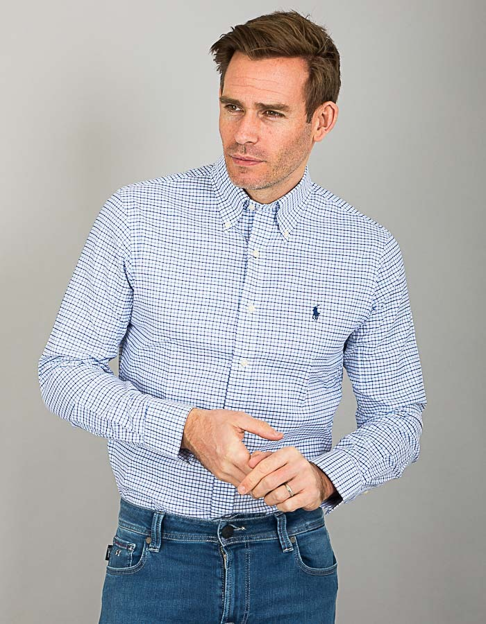 Ralph Lauren custom fit hemd blauw