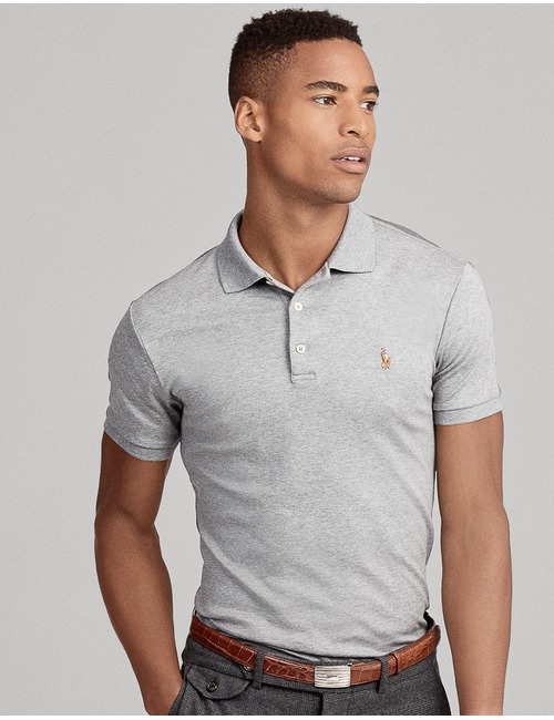 Ralph Lauren slim fit polo grijs