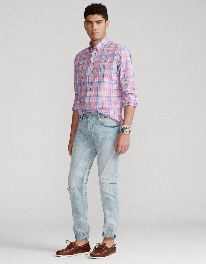Ralph Lauren slim fit hemd roze