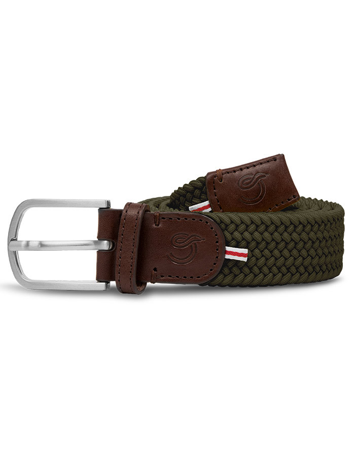 The Mono Edinburgh kaki elastische riem