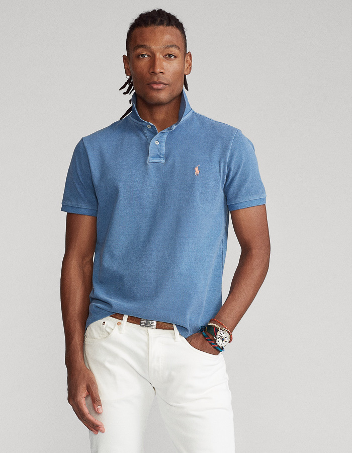 Custom Slim Fit Mesh Polo blauw