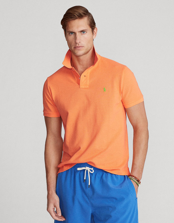 Custom Slim Fit Mesh Polo Oranje