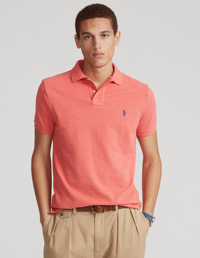 Custom Slim Fit Mesh Polo rood