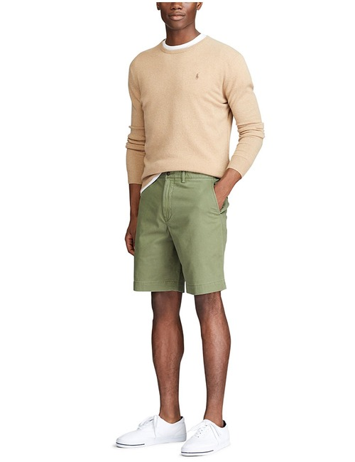 Stretch Straight fit Chino short Groen