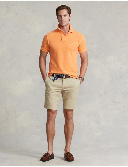 stretch slim fit chino short beige