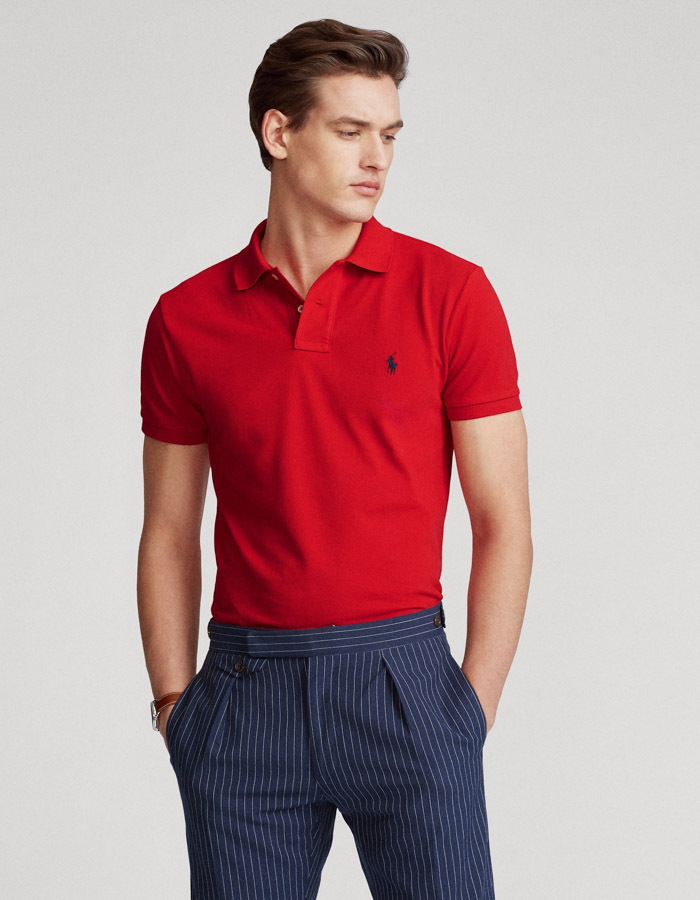 Slim Fit Mesh Polo Rood