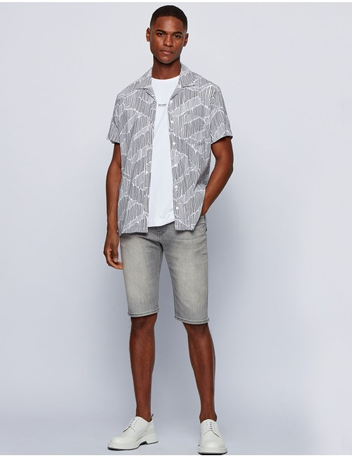 Tapered Fit Jeans Shorts Super stretch Grijs