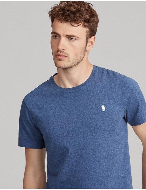Custom slim fit T-shirt Jeansblauw