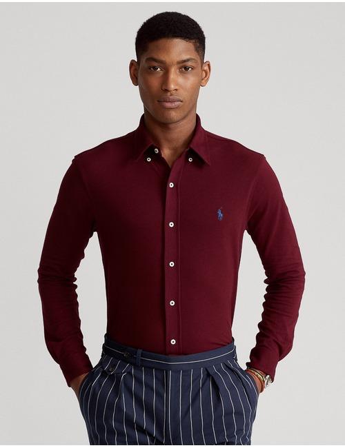 Featherweight mesh hemd standard fit bordeaux