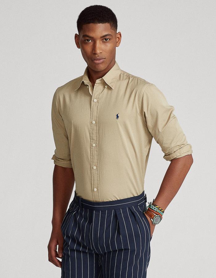 Slim fit featherweight twill hemd beige