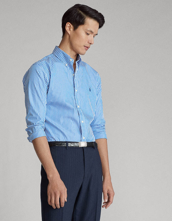 Custom fit gestreept poplin hemd blauw