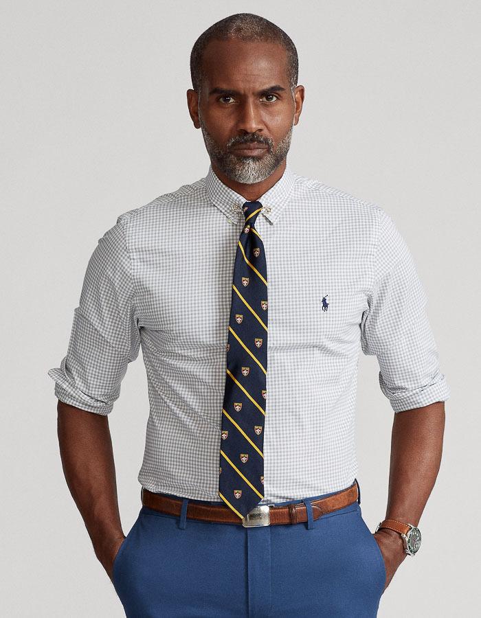 Custom fit vichy poplin hemd grijs