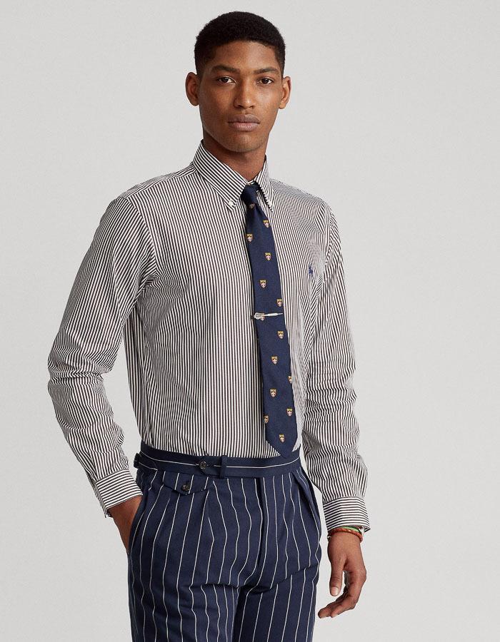 Slim fit gestreept poplin hemd bordeaux