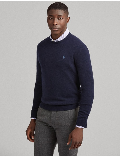 100% Lamswollen Pull standard fit blauw