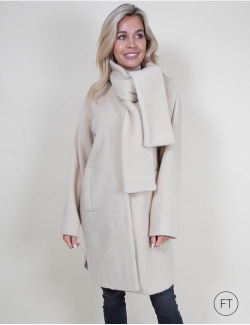 Xandres lange mantel beige bruin