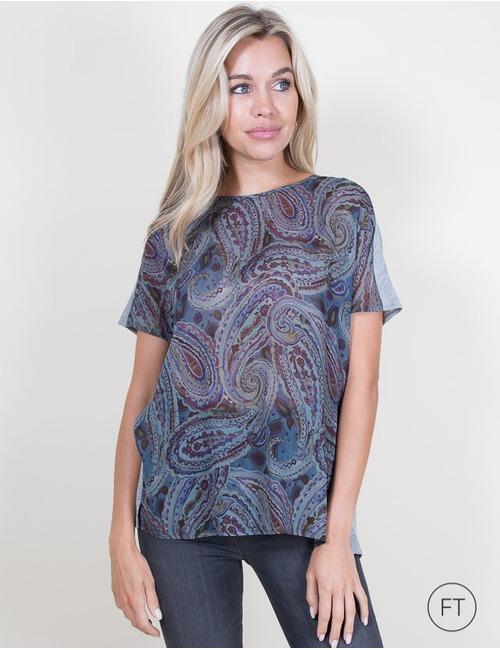 Luisa Cerano t-shirt korte mouw blauw