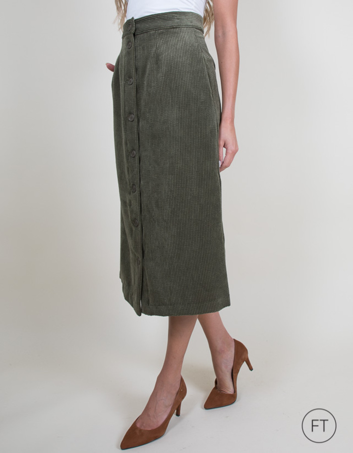 La Camicia midi rok kaki