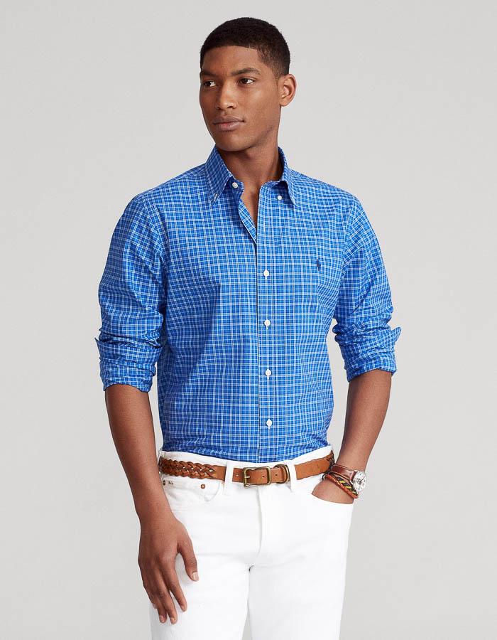 Custom fit gestreept poplin hemd