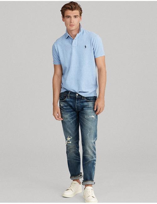 Custom Slim fit Mesh Polo Lichtblauw