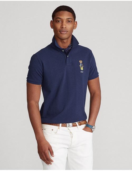 Ralph Lauren custom slim fit polo blauw