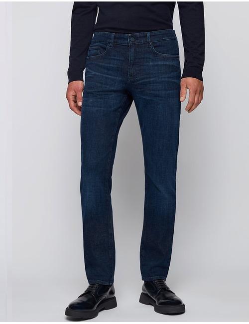 Slim-fit jeans van blauw denim met een kasjmierachtige feel