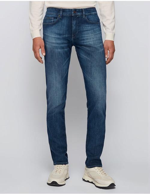 Slim-fit jeans van superzacht blauw stretchdenim