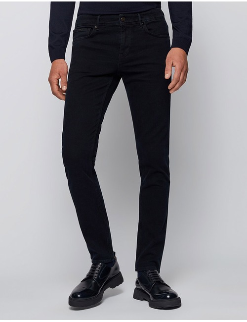 Extra slim-fit jeans van gecoat donkerblauw denim