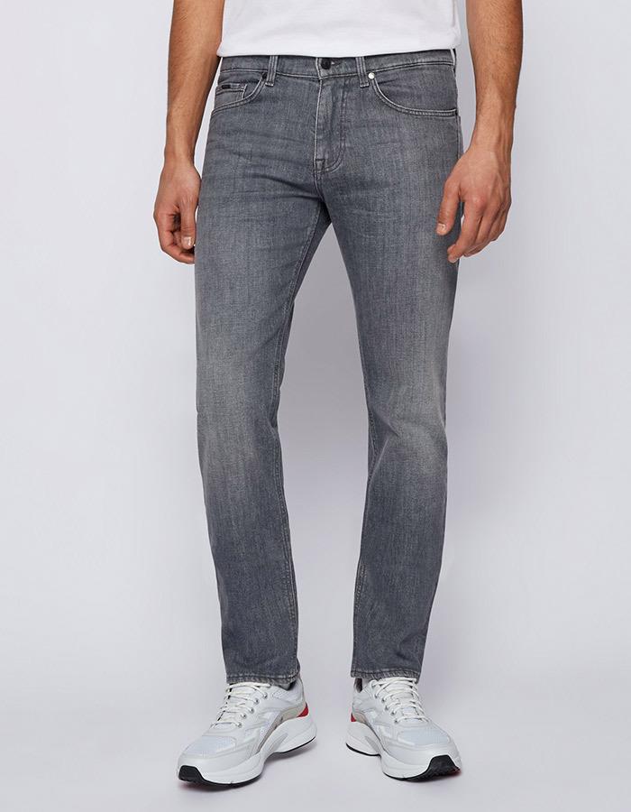 Slim-fit jeans van grijs super-stretchdenim