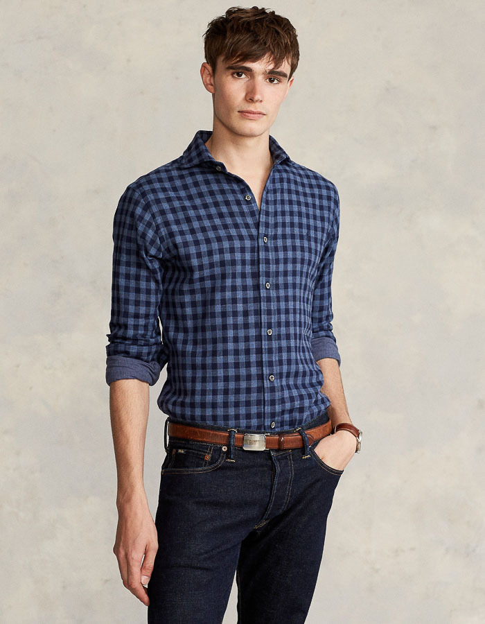 Custom fit Gingham Ruit hemd Blauw