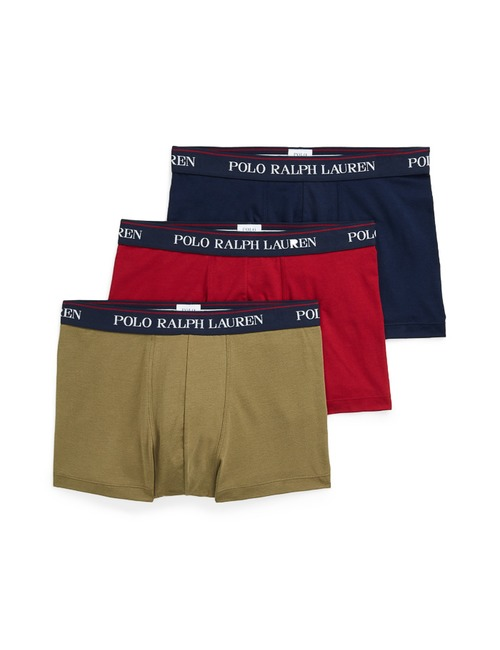 Stretch Katoen Boxers 3-Pack Kaki Rood Donkerblauw