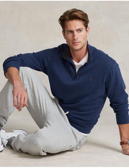 Luxury Jersey quarter-zip pullover Blauw