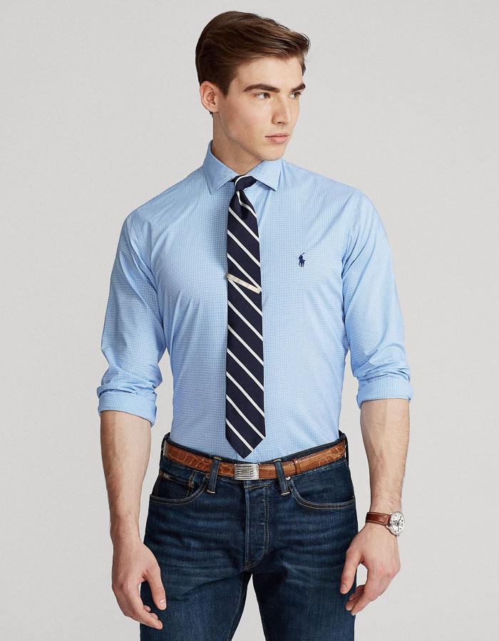 Custom Fit Poplin Vichy Hemd blauw