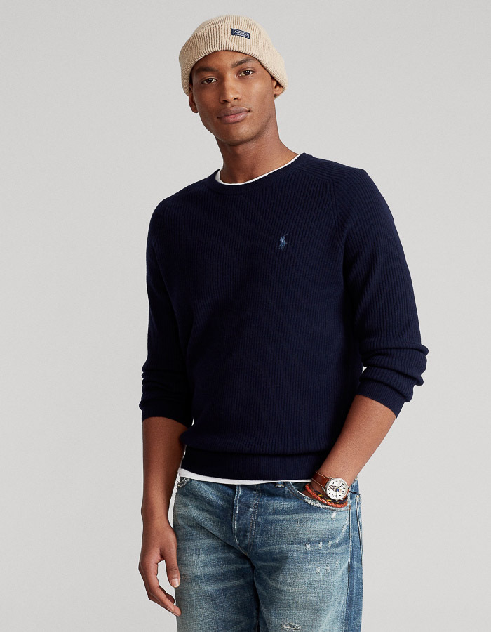 Standard fit wollen Pull met ronde hals donkerblauw