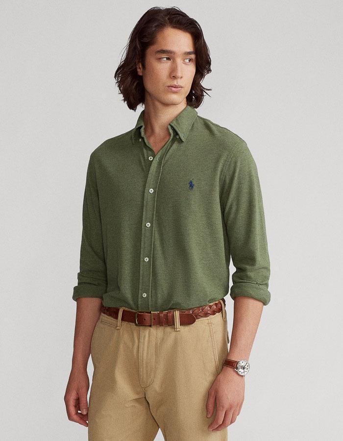 Standard fit Featherweigh mesh Hemd Groen