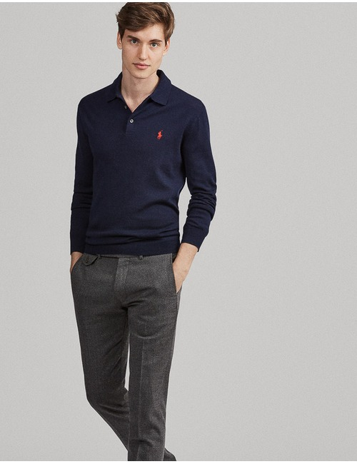 Standard Fit Washable Merino Wool Polo
