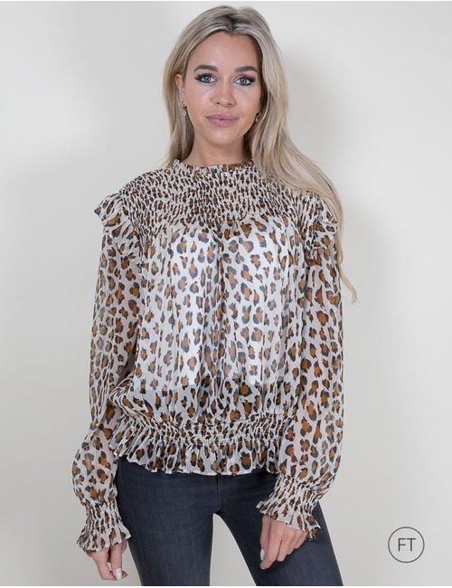 Twinset lange mouw bloes leopard