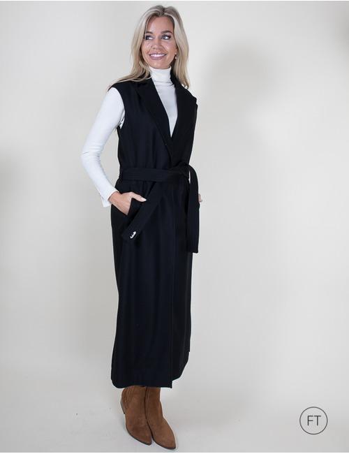 Lalotti lange mantel zwart
