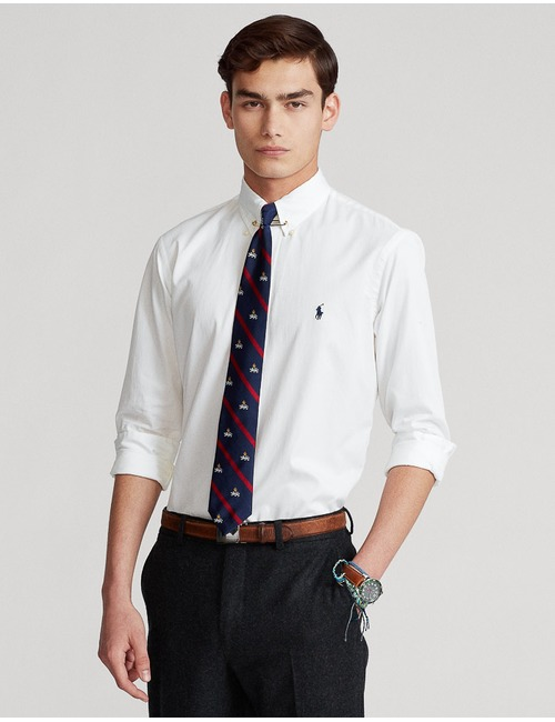 Custom Fit Featherweight twill hemd wit