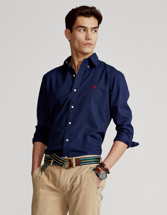 Custom Fit Featherweight Twill hemd Donkerblauw