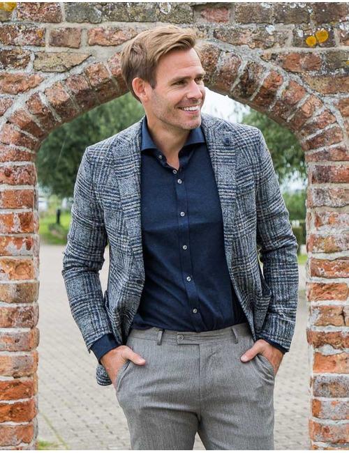 Fashion Fit Wollen blazer Blauw Carreau