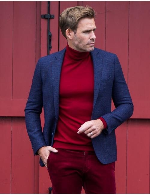 Tailored Fit Blazer Geruit Blauw