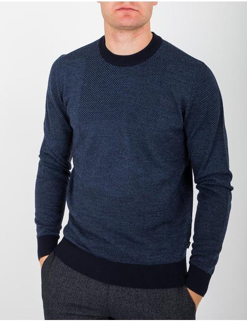 Standard fit pull met ronde hals jeansblauw